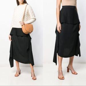 JW Anderson Black Draped Asymmetric Midi Skirt